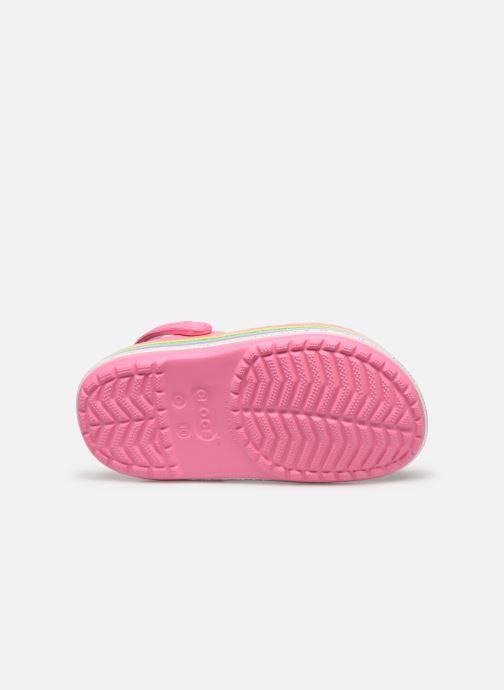 Sandales et nu-pieds Crocs Crocband Rainbow Glitter Kids Rose vue haut