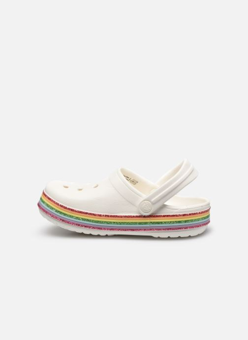 Sandalias Crocs Crocband Rainbow Glitter Kids Blanco vista de frente
