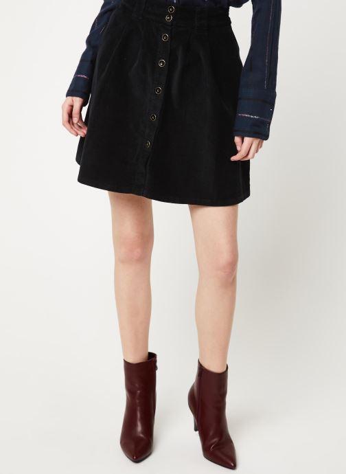 Vêtements Cuisse de Grenouille SKIRT - BUTTONED VELVET SKIRT Noir vue détail/paire