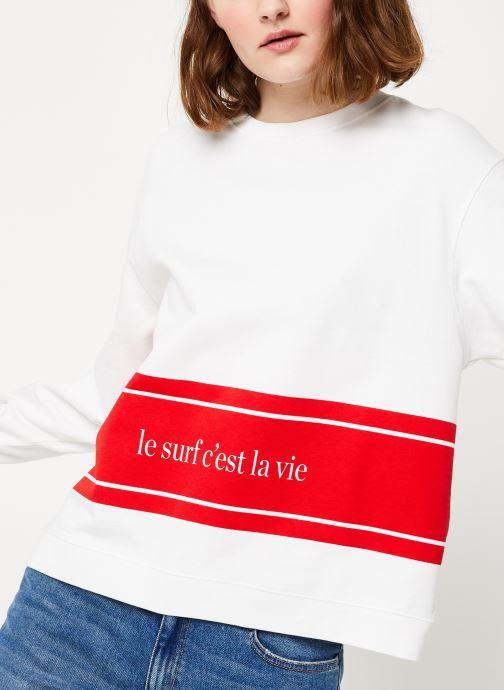 Vêtements Cuisse de Grenouille SWEAT - LE SURF C'EST LA VIE PRINT F Blanc vue détail/paire