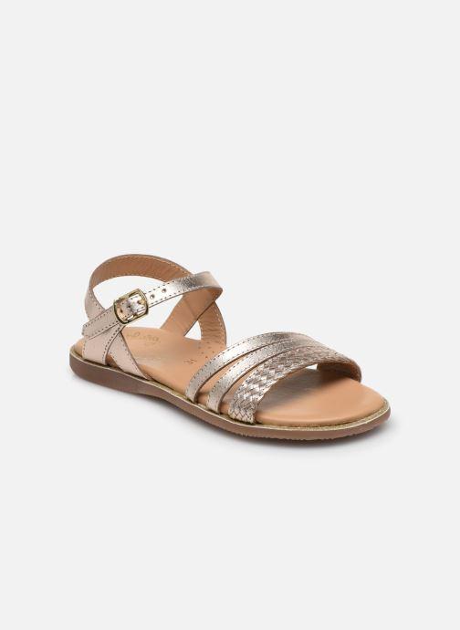 Sandalias Little Mary Lime Oro y bronce vista de detalle / par