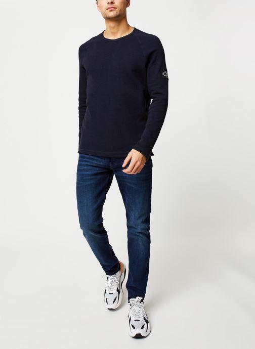 Vêtements Calvin Klein Jeans Waffle Monogram Sleeve Slim L/S Bleu vue bas / vue portée sac