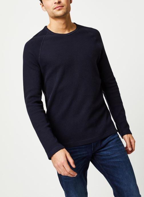 Vêtements Calvin Klein Jeans Waffle Monogram Sleeve Slim L/S Bleu vue droite