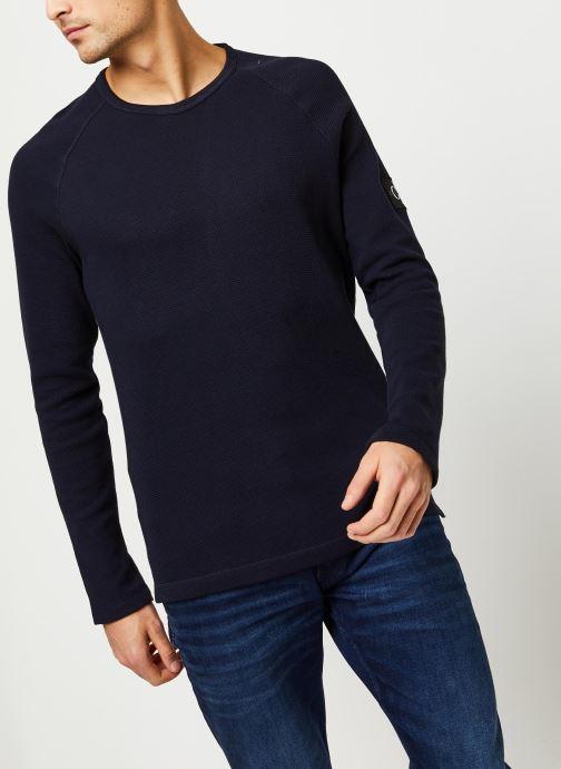 Vêtements Calvin Klein Jeans Waffle Monogram Sleeve Slim L/S Bleu vue détail/paire