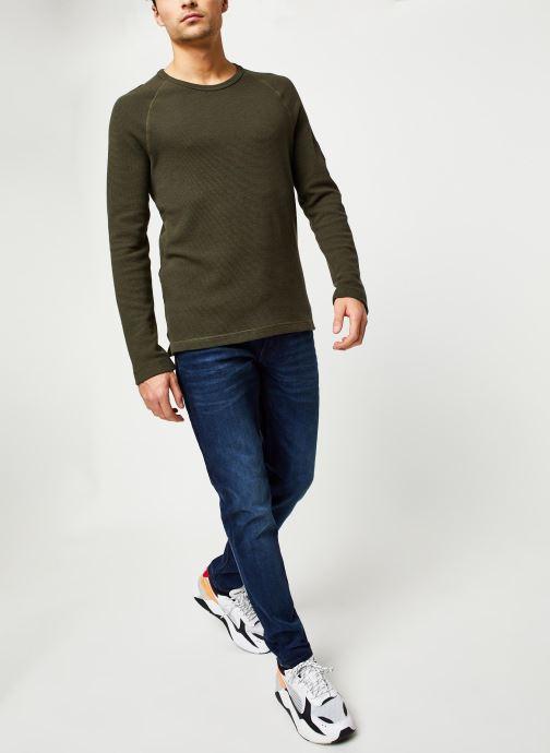 Vêtements Calvin Klein Jeans Waffle Monogram Sleeve Slim L/S Vert vue bas / vue portée sac