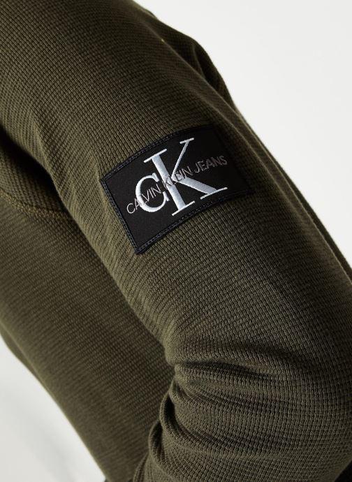 Vêtements Calvin Klein Jeans Waffle Monogram Sleeve Slim L/S Vert vue face