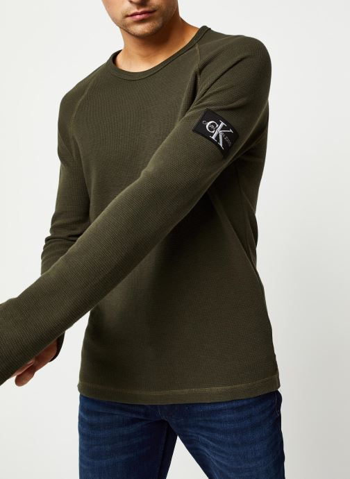 Vêtements Calvin Klein Jeans Waffle Monogram Sleeve Slim L/S Vert vue droite