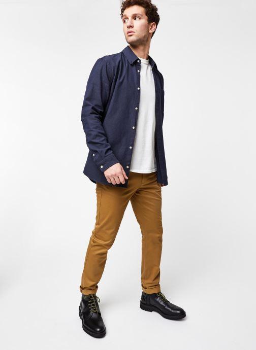 Vêtements Tommy Jeans TJM Two Tone Oxford Shirt Bleu vue bas / vue portée sac