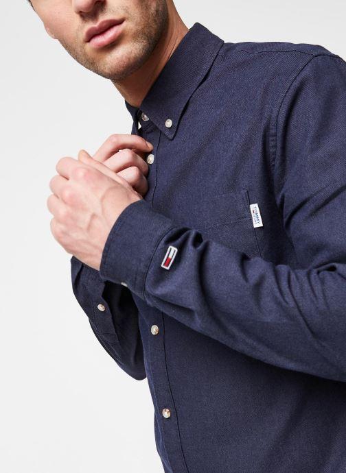 Vêtements Tommy Jeans TJM Two Tone Oxford Shirt Bleu vue face