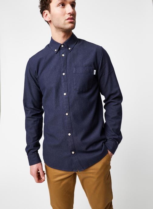 Vêtements Tommy Jeans TJM Two Tone Oxford Shirt Bleu vue droite
