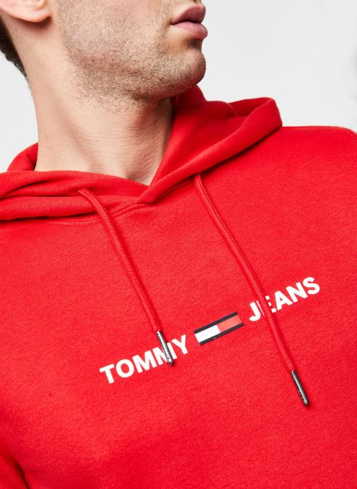 Vêtements Tommy Jeans TJM Straight Small Logo Hoodie Rouge vue face