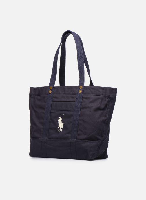 Sacs à main Polo Ralph Lauren PP TOTE ZIPCANVAS Bleu vue portées chaussures