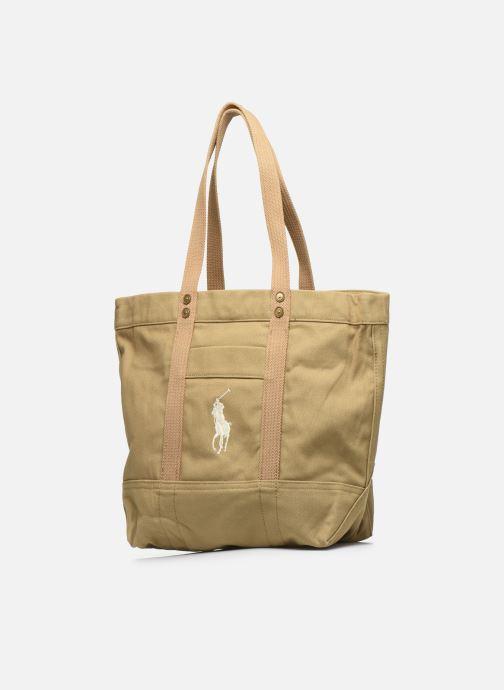 Handbags Polo Ralph Lauren PP TOTE ZIPCANVAS Brown model view