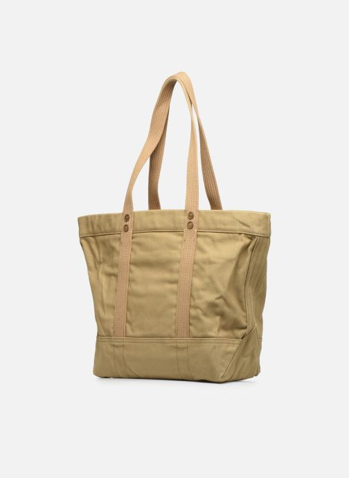 Handbags Polo Ralph Lauren PP TOTE ZIPCANVAS Brown view from the right