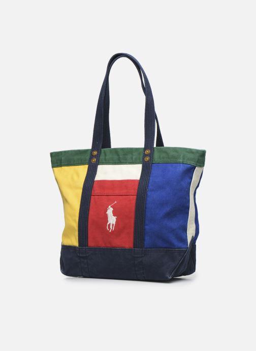 Sacs à main Polo Ralph Lauren MEDIUM PP TOTE ZIP COLOR BLOCK Multicolore vue portées chaussures