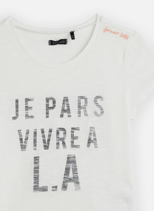 Vêtements IKKS JUNIOR  T-shirt MC XQ10082 Blanc vue portées chaussures
