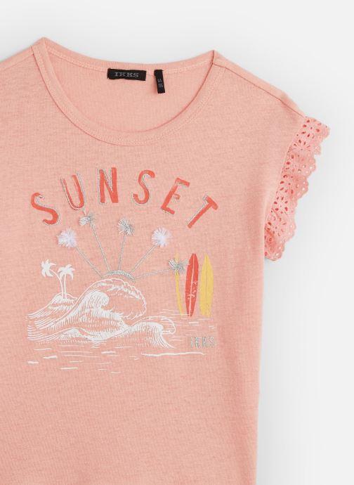Vêtements IKKS JUNIOR  T-shirt MC XQ10342 Rose vue portées chaussures
