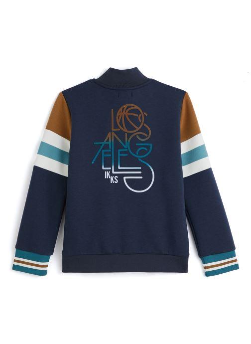 Vêtements IKKS JUNIOR  Sweatshirt zippé XQ17043 Bleu vue bas / vue portée sac