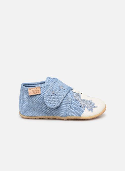 Pantoffels Living Kitzbühel Babyklett. Einhorn & Regenbogen Blauw achterkant