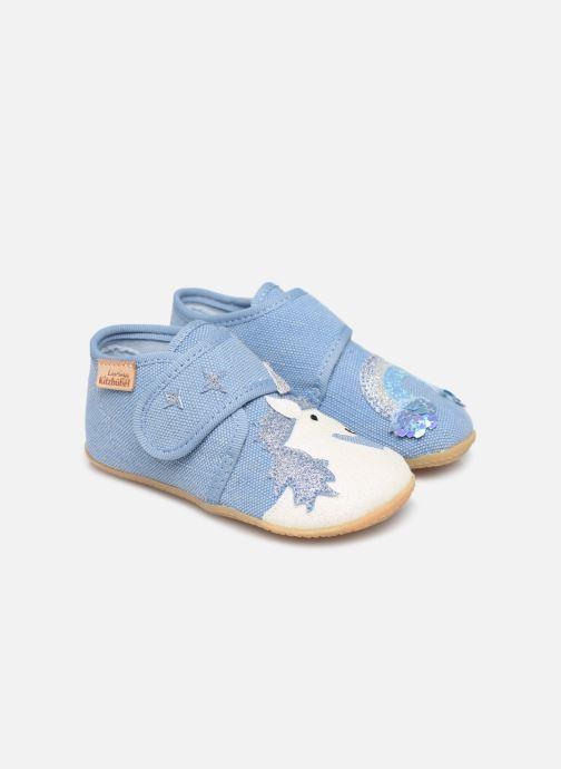 Chaussons Living Kitzbühel Babyklett. Einhorn & Regenbogen Bleu vue détail/paire