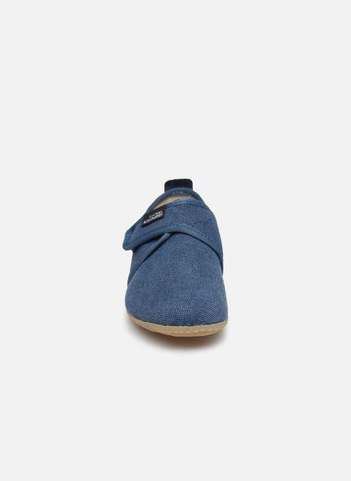 Chaussons Living Kitzbühel Klettmodell Canvas mit Lederinnensohle Bleu vue portées chaussures