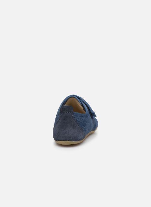 Chaussons Living Kitzbühel Klettmodell Canvas mit Lederinnensohle Bleu vue droite