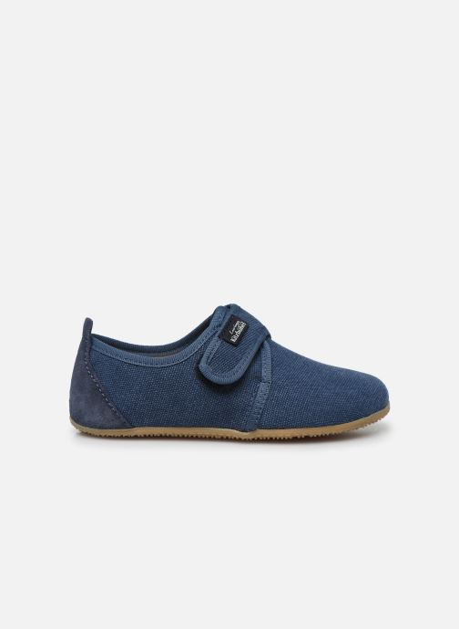 Pantofole Living Kitzbühel Klettmodell Canvas mit Lederinnensohle Azzurro immagine posteriore