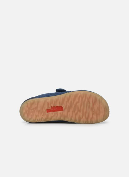 Pantofole Living Kitzbühel Klettmodell Canvas mit Lederinnensohle Azzurro immagine dall'alto