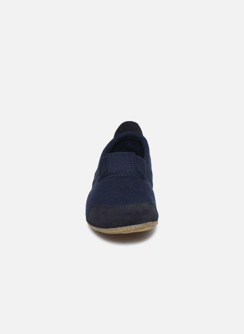 Hausschuhe Living Kitzbühel T-Modell Unifarben blau schuhe getragen