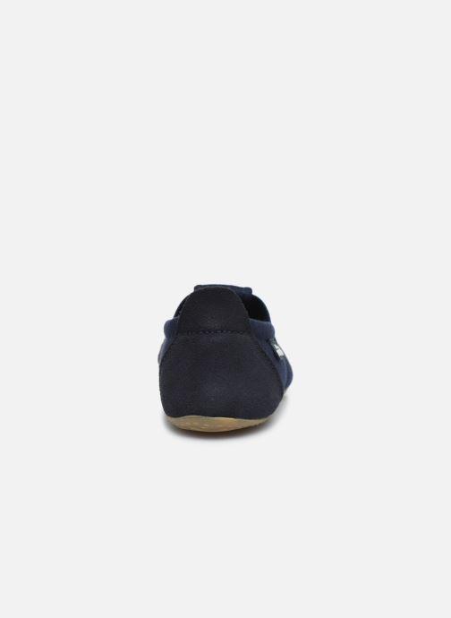 Hausschuhe Living Kitzbühel T-Modell Unifarben blau ansicht von rechts