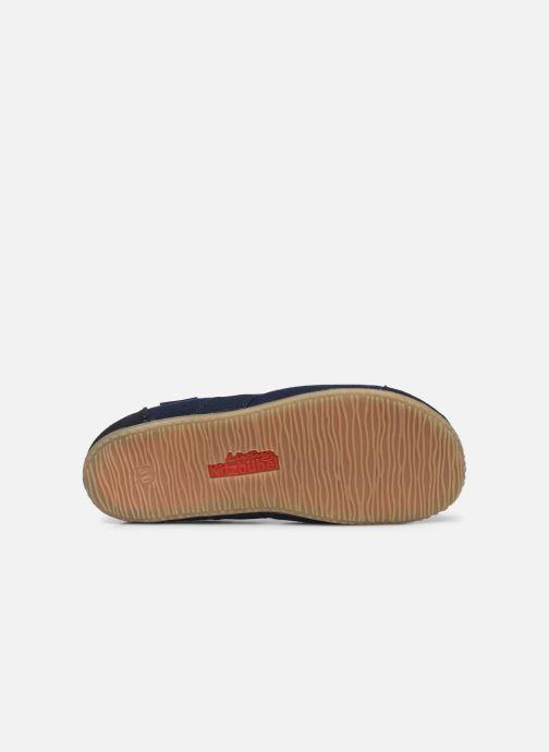 Hausschuhe Living Kitzbühel T-Modell Unifarben blau ansicht von oben