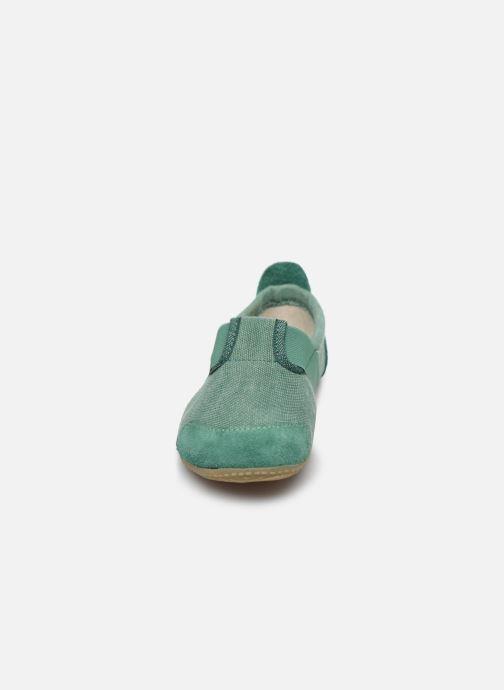 Chaussons Living Kitzbühel T-modell Unifarben mit Lederinnensohle Vert vue portées chaussures