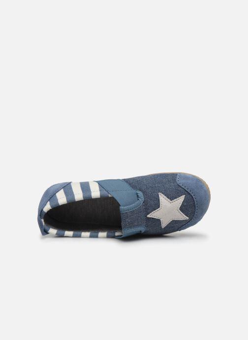 Chaussons Living Kitzbühel T-Modell Streifen und Stern Bleu vue gauche