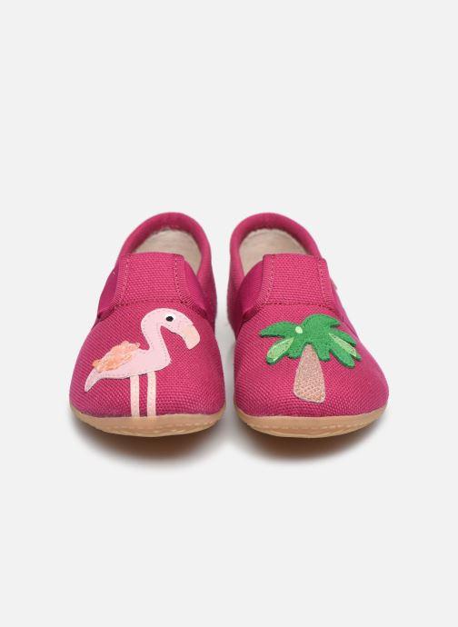 Chaussons Living Kitzbühel T-Modell Flamingo & Palme Rose vue portées chaussures