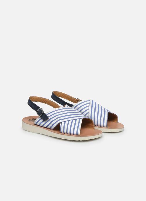 Sandales et nu-pieds PèPè Sandales-Nappa Stripes Fiordo Blanc vue 3/4