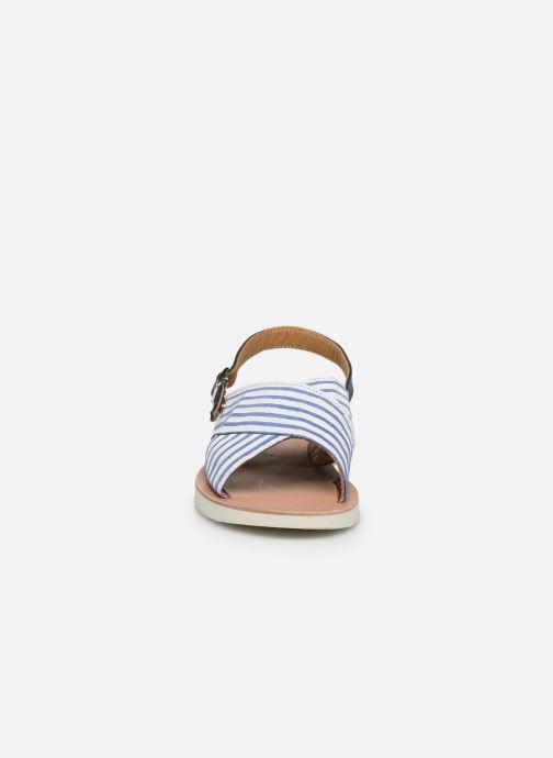 Sandalen PèPè Sandales-Nappa Stripes Fiordo weiß schuhe getragen