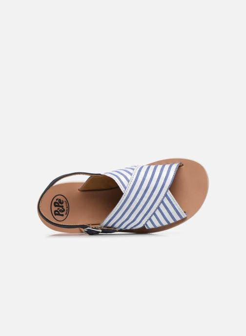 Sandali e scarpe aperte PèPè Sandales-Nappa Stripes Fiordo Bianco immagine sinistra