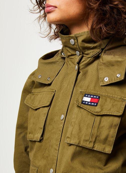 Kleding Tommy Jeans TJW Pleat Detail Sleeve Jacket Groen voorkant