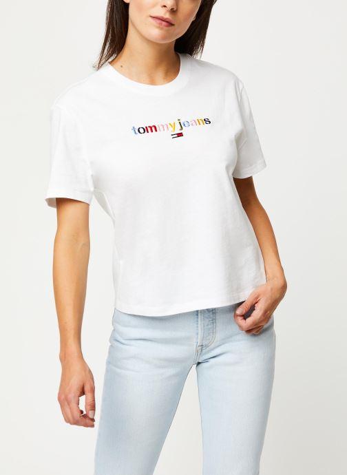 Vêtements Tommy Jeans TJW Multicolor Logo Tee Blanc vue détail/paire