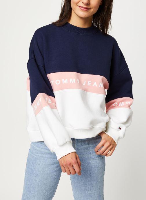 Vêtements Tommy Jeans TJW Colorblock Crew Blanc vue détail/paire