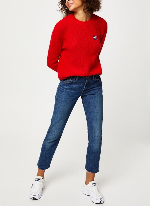 Vêtements Tommy Jeans TJW Tommy Badge Sweater Rouge vue bas / vue portée sac