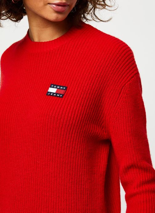 Vêtements Tommy Jeans TJW Tommy Badge Sweater Rouge vue face