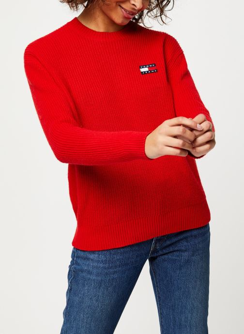 Vêtements Tommy Jeans TJW Tommy Badge Sweater Rouge vue droite