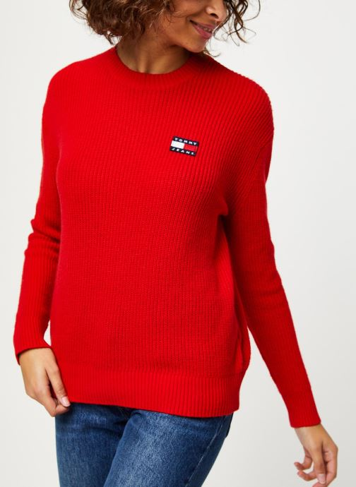Vêtements Tommy Jeans TJW Tommy Badge Sweater Rouge vue détail/paire