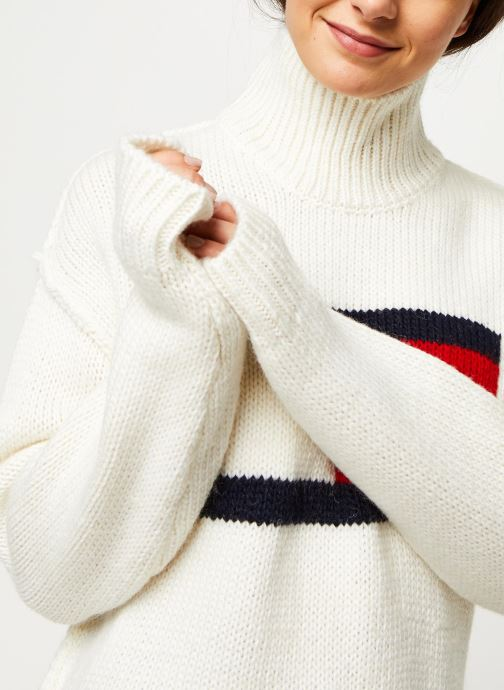Vêtements Tommy Jeans TJW Tommy Flag Sweater Blanc vue face