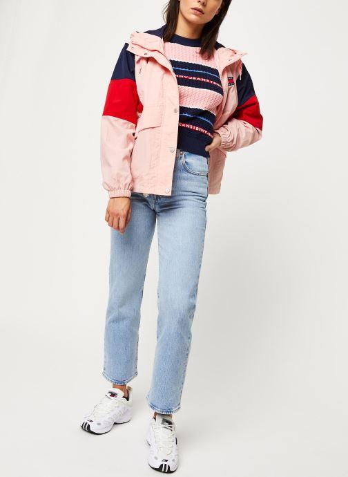 Vêtements Tommy Jeans TJW Logo Stripe Cable Sweater Rose vue bas / vue portée sac