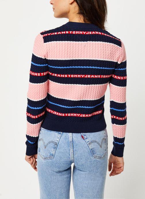 Vêtements Tommy Jeans TJW Logo Stripe Cable Sweater Rose vue portées chaussures