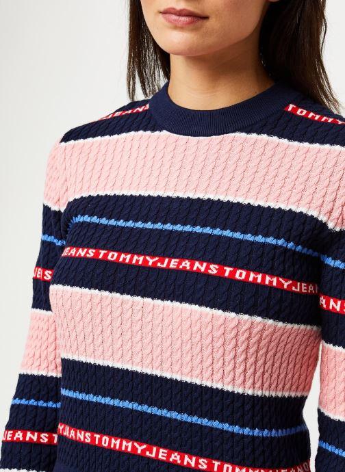 Vêtements Tommy Jeans TJW Logo Stripe Cable Sweater Rose vue face