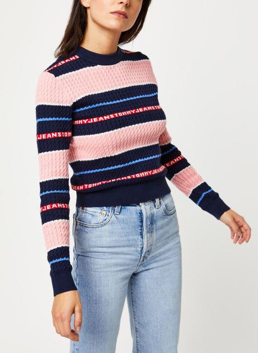 Vêtements Tommy Jeans TJW Logo Stripe Cable Sweater Rose vue droite