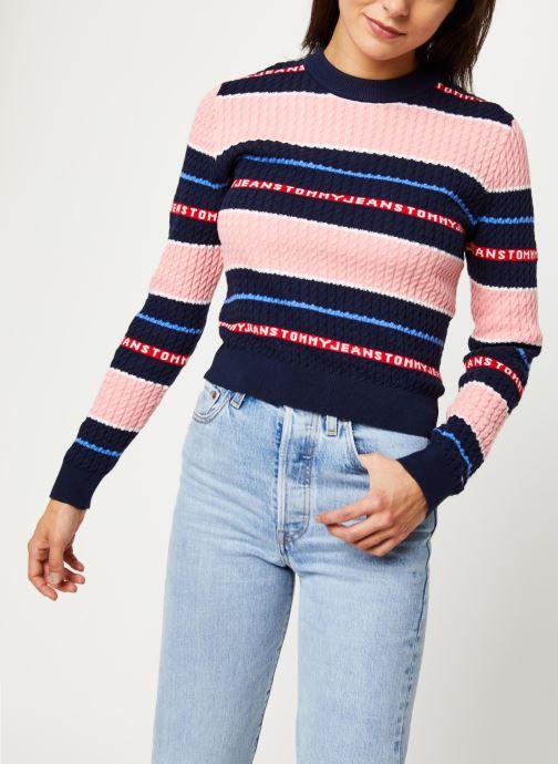 Vêtements Tommy Jeans TJW Logo Stripe Cable Sweater Rose vue détail/paire